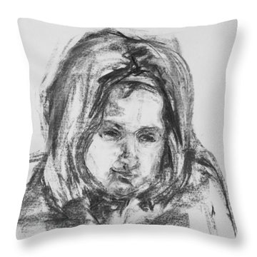 Little Girl With Hairband Throw Pillow by Barbara Pommerenke