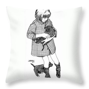 Little Girl With Puppies Throw Pillow by Jim Harris