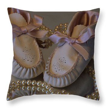 Throw Pillow featuring the photograph Little Girls To Pearls by Sharon Elliott