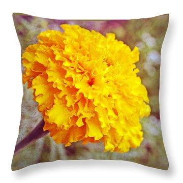 Throw Pillow featuring the photograph Little Golden  Marigold by Kay Novy