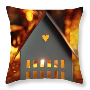 Throw Pillow featuring the photograph Little Gray House Lit With Candle For The Holidays by Sandra Cunningham