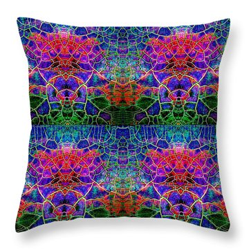 Throw Pillow featuring the painting Little Green Men by Carolyn Repka