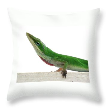 Throw Pillow featuring the photograph Little Green by Sally Simon