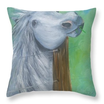 Little Grey Has An Itch Throw Pillow