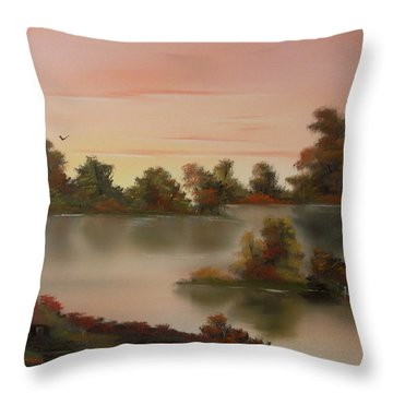 Little Haven At Sunset Throw Pillow by Cynthia Adams
