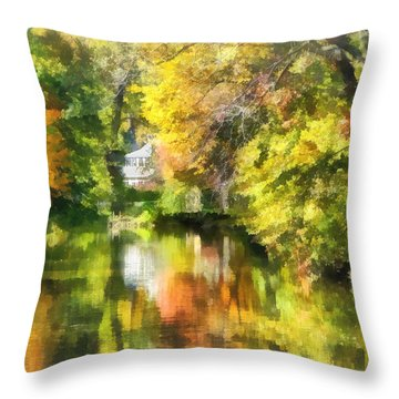 Little House By The Stream In Autumn Throw Pillow by Susan Savad