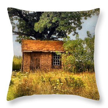 Throw Pillow featuring the photograph Little House On The Prairie by Peggy Franz