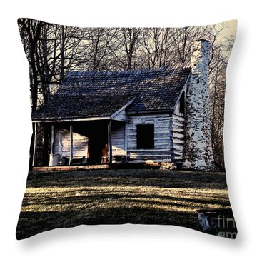 Throw Pillow featuring the photograph Little Log Cabin by B Wayne Mullins