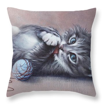 Throw Pillow featuring the painting Little Mischief by Cynthia House
