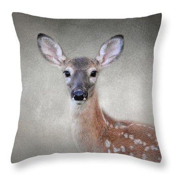 Little Miss Lashes - White Tailed Deer - Fawn Throw Pillow