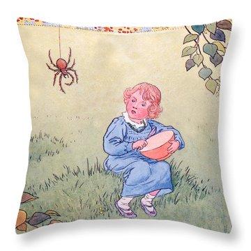 Little Miss Muffet Throw Pillow by Leonard Leslie Brooke