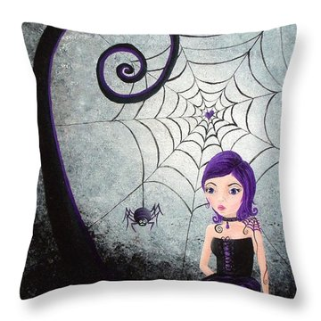 Little Miss Muffet Throw Pillow by Oddball Art Co by Lizzy Love