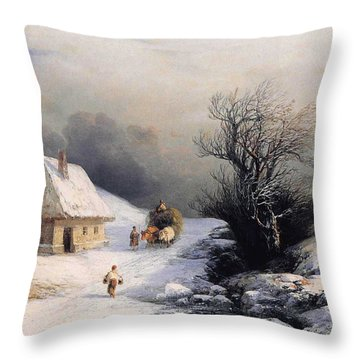 Little Oxcart Throw Pillow by Ivan Constantinovich Aivazovsky