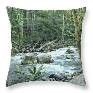 Throw Pillow featuring the painting Little Pigeon River by Bob  George