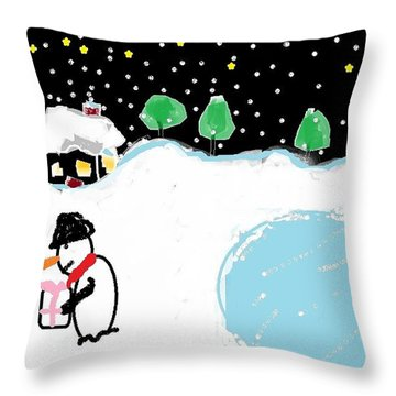 Throw Pillow featuring the digital art Little Pink Bow by Tracey Williams