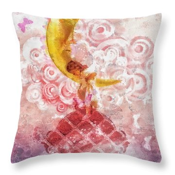 Little Princess Throw Pillow by Mo T