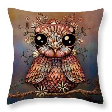 Little Rainbow Flower Owl Throw Pillow by Karin Taylor
