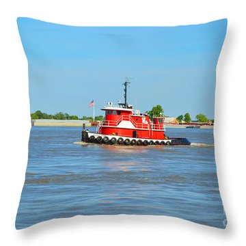 Little Red Boat On The Mighty Mississippi Throw Pillow by Alys Caviness-Gober