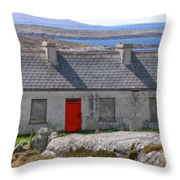 Little Red Door II Throw Pillow by Suzanne Oesterling
