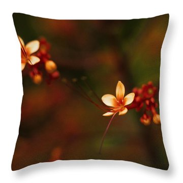 Little Red Flowers Throw Pillow