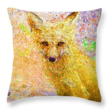 Little Red Fox Throw Pillow by Claire Bull