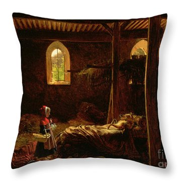 Little Red Riding Hood Throw Pillow by Fleury Francois Richard