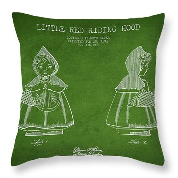 Little Red Riding Hood Patent Drawing From 1943 - Green Throw Pillow