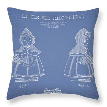 Little Red Riding Hood Patent Drawing From 1943 - Light Blue Throw Pillow
