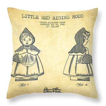 Little Red Riding Hood Patent Drawing From 1943 - Vintage Throw Pillow
