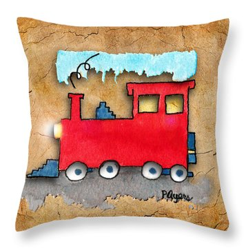 Little Red Train Throw Pillow