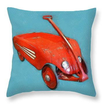 Little Red Wagon Throw Pillow by Michelle Calkins