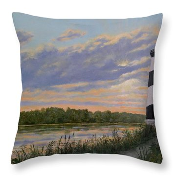 Throw Pillow featuring the painting Little River Light 2 by Kathleen McDermott
