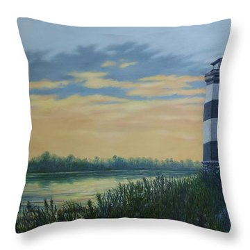 Throw Pillow featuring the painting Little River Light One by Kathleen McDermott