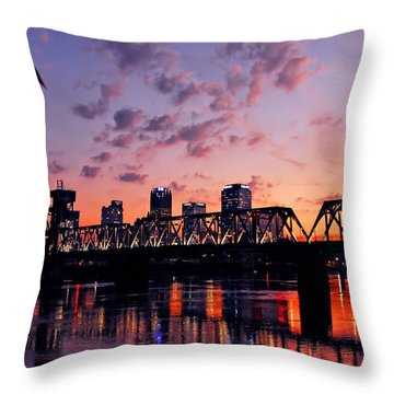 Little Rock Bridge Sunset Throw Pillow