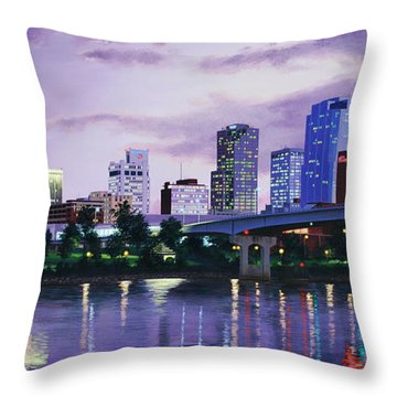 Little Rock Skyline Throw Pillow