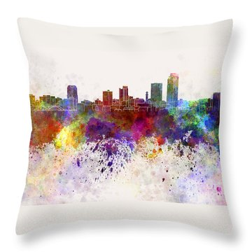 Little Rock Skyline In Watercolor Background Throw Pillow by Pablo Romero