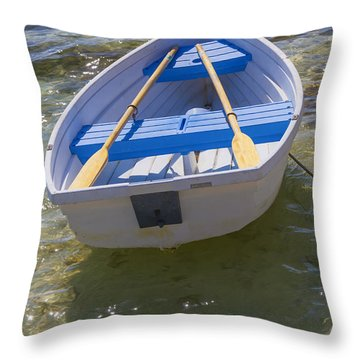 Little Rowboat Throw Pillow by Verena Matthew