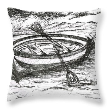 Little Rowing Boat Throw Pillow