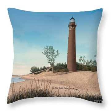 Little Sable Point Lighthouse Titled Throw Pillow by Darren Kopecky