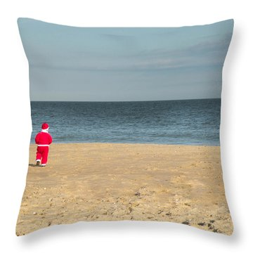 Little Santa On The Beach Throw Pillow
