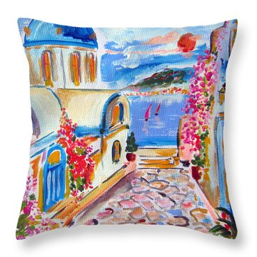 Little Santorini Alley Throw Pillow