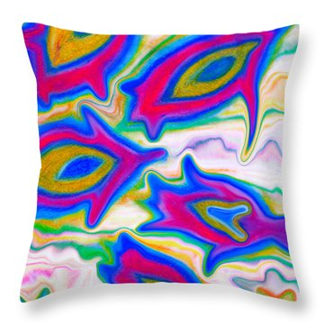 Little Sea Turtles Swimming Throw Pillow by Marie Jamieson