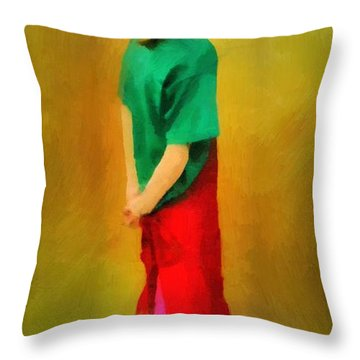 Little Shopgirl Throw Pillow