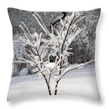 Little Snow Tree Throw Pillow by Karen Adams