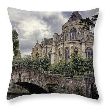 Little Stone Bridge By The Church Throw Pillow by Joan Carroll