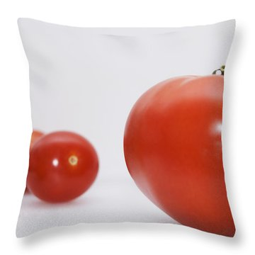 Little Tomatoes And One Big Tomato Throw Pillow by Marlene Ford