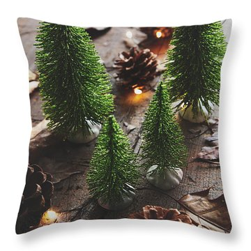 Throw Pillow featuring the photograph Little Trees With Pine Cones And Leaves  by Sandra Cunningham