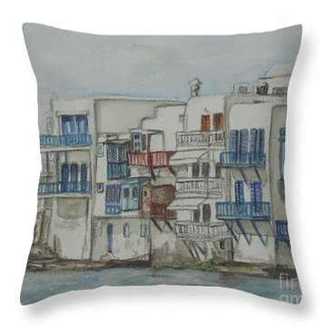 Little Venice Mykonos Greece Throw Pillow