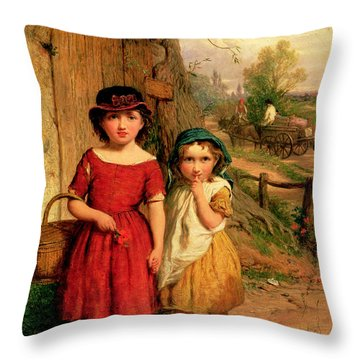 Little Villagers Throw Pillow by George Smith
