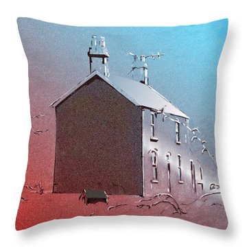 Welsh House In Snow Throw Pillow